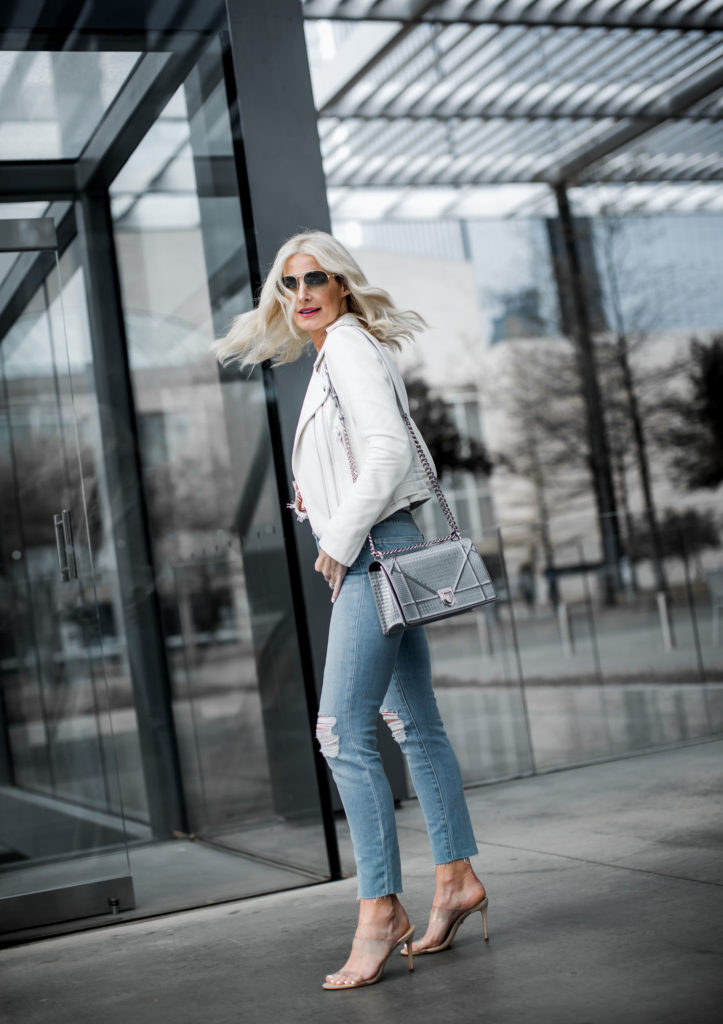 Dallas blogger wearing Iro white leather jacket and L'agence jeans