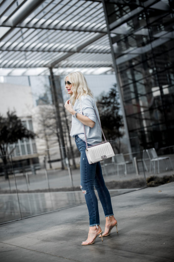 White Chanel Boy Bag, Paige Ripped jeans, and Schutz nude heels