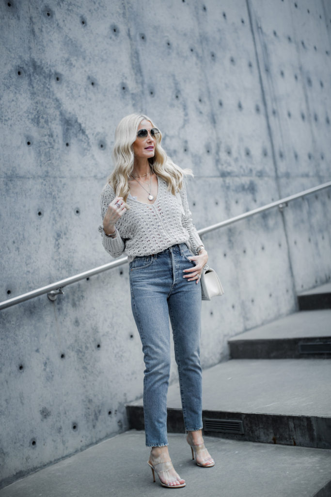 Spring Shoes - Dallas blogger wearing Free People sweater, Citizens of Humanity jeans, and transparent heels by Schutz