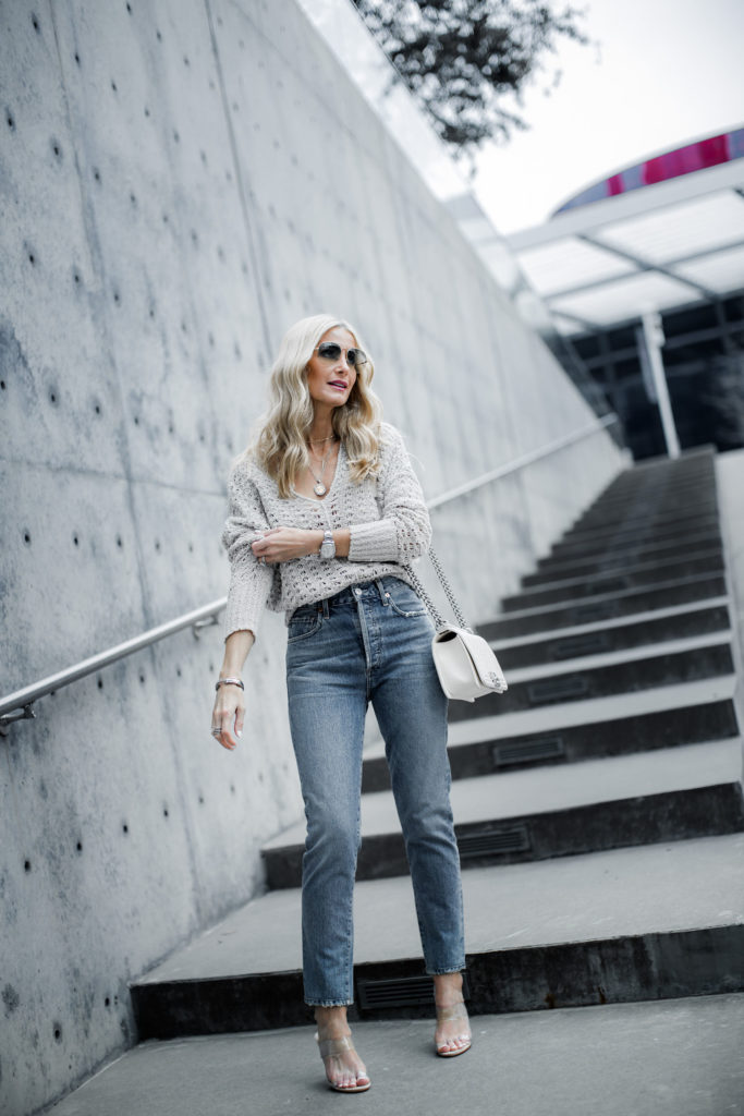 Spring Shoes & Dallas blogger wearing Citizens of Humanity jeans and transparent heels