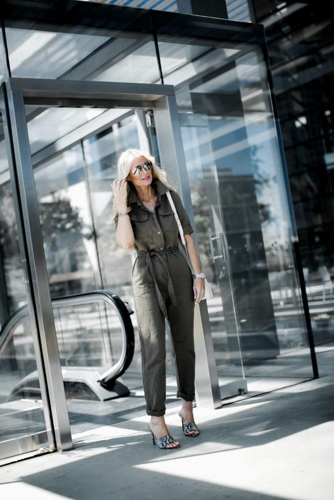 Dallas blogger wearing Frame jumpsuit