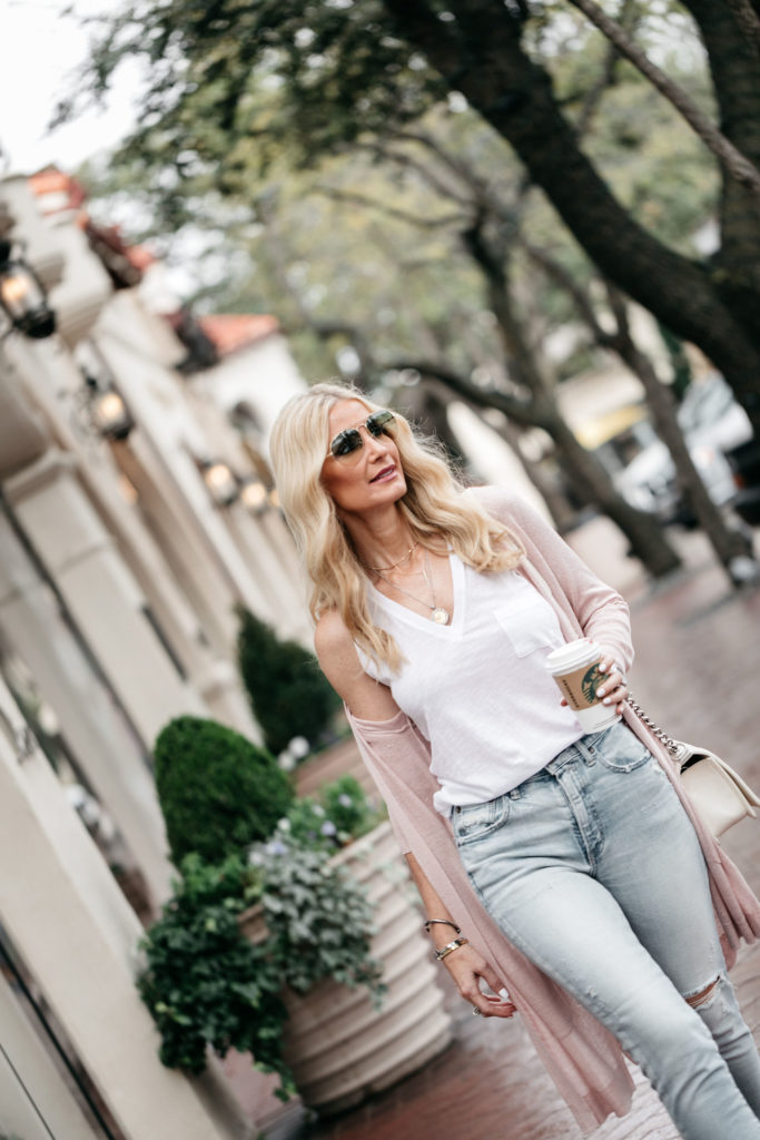 Dallas style blogger wearing Moussy denim and Madewell tee