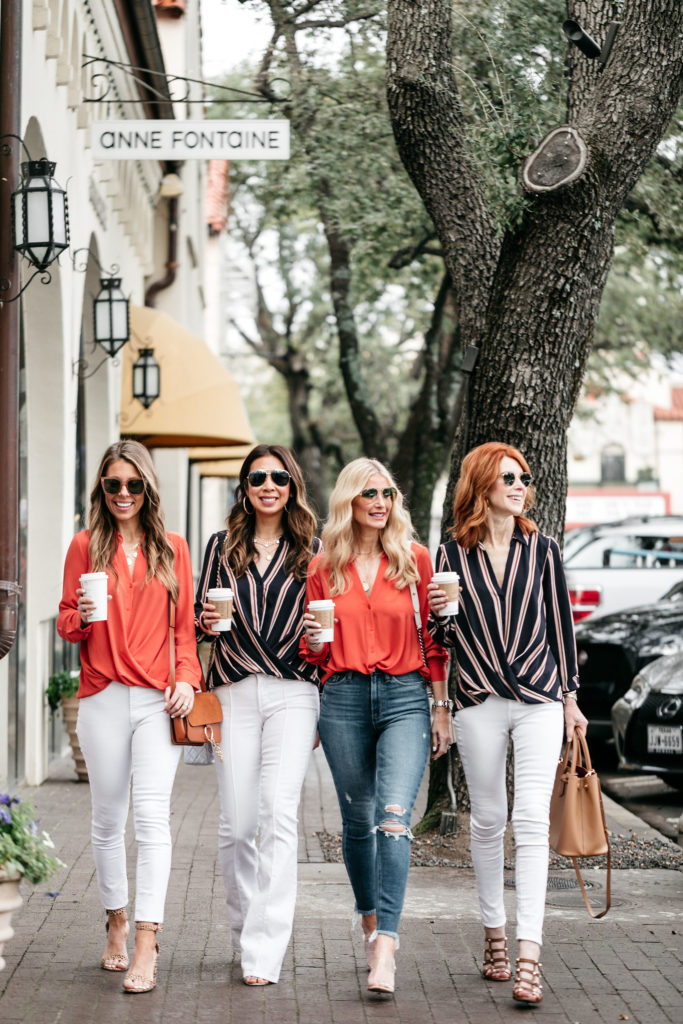 Dallas bloggers wearing white jeans and coral tops