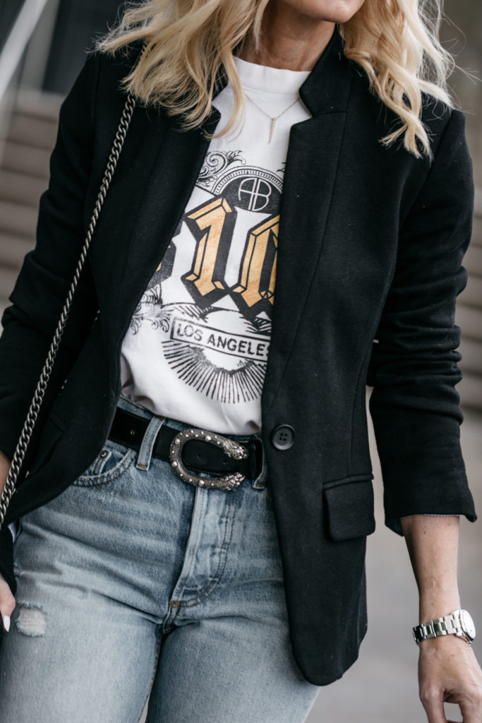 Black blazer, Anine Bing graphic tee, and Gucci belt