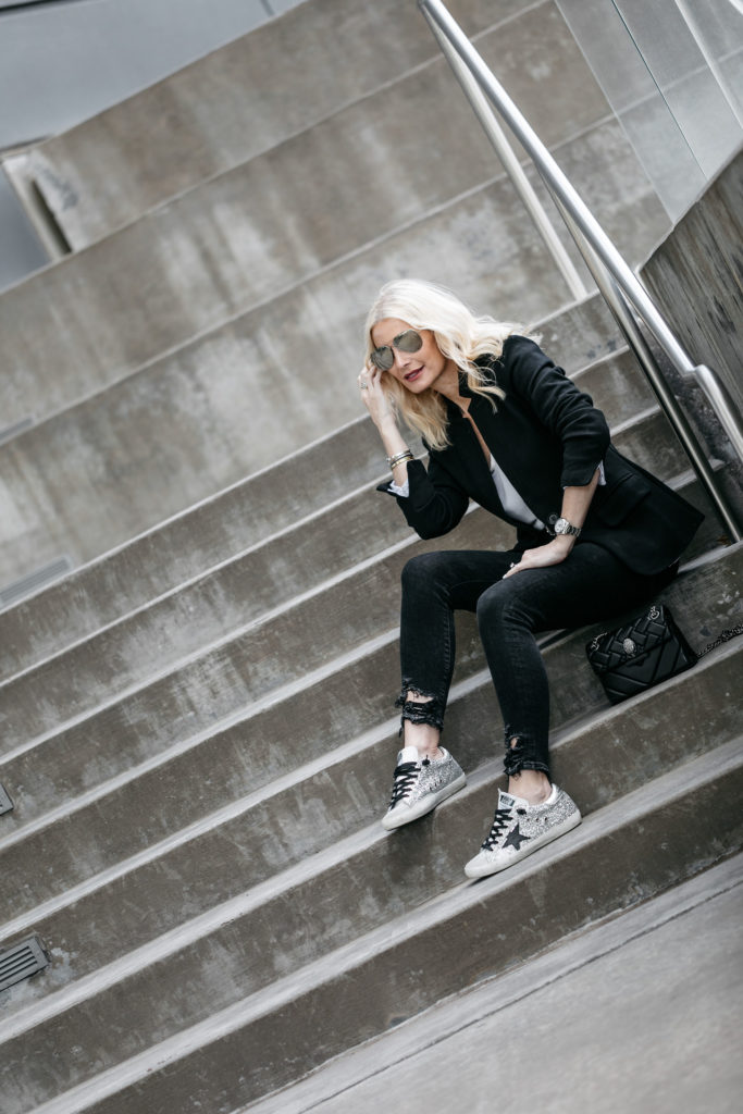 How to wear a blazer, jeans, and Golden Goose sneakers