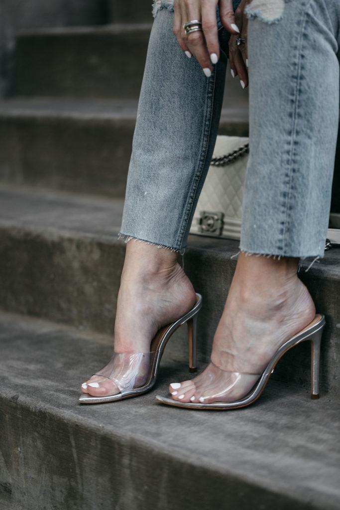 Schutz heels, Boyish jeans, and white Chanel Boy Bag