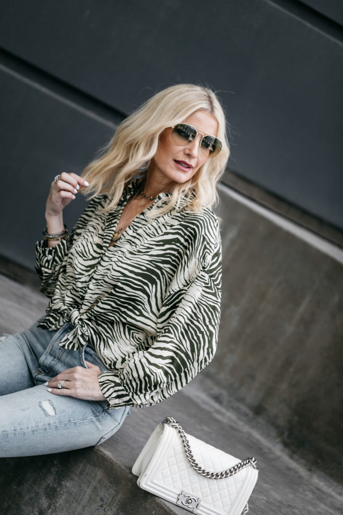 Chanel Boy Bag and zebra print top on Dallas blogger