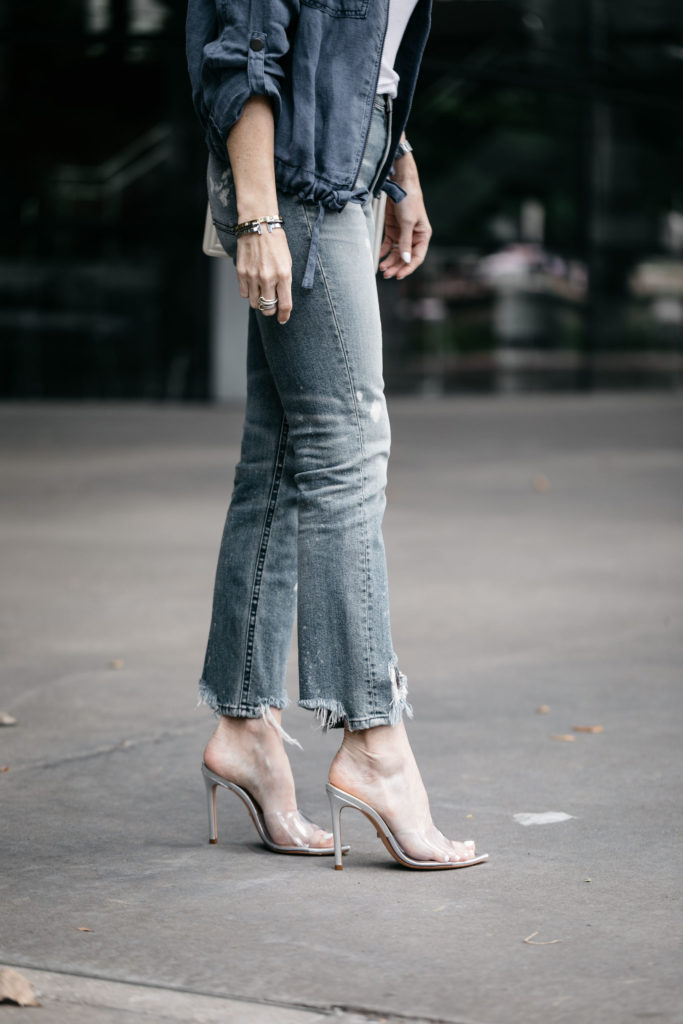 3x1 jeans, Schutz heels, and linen jacket