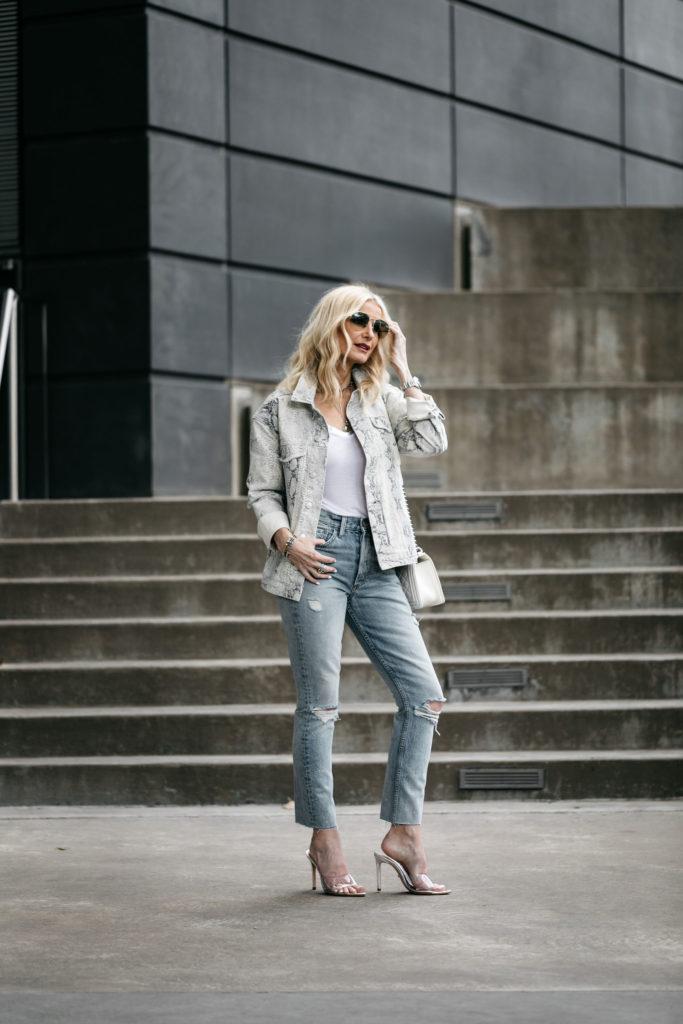 Dallas blogger wearing snake print denim jacket and Boyish jeans