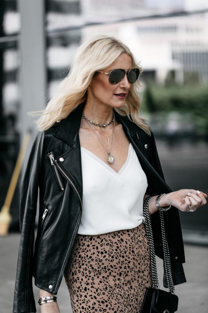 Dallas Blogger wearing Iro leather jacket and Leopard Midi skirt