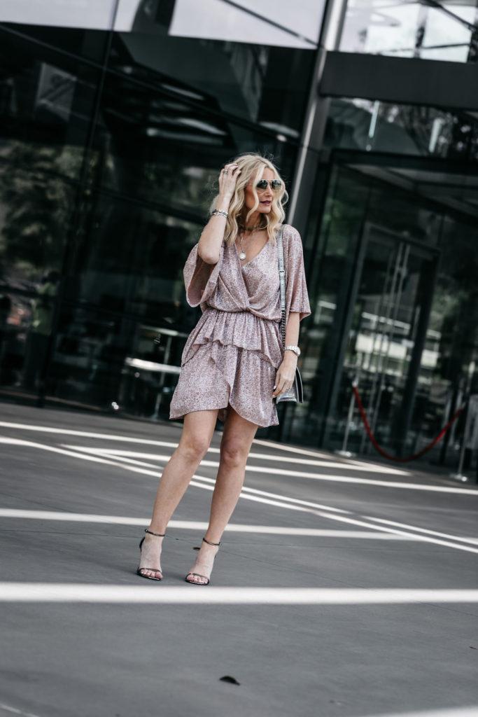 Dallas fashion blogger wearing an Iro dress and Stuart Weitzman heels