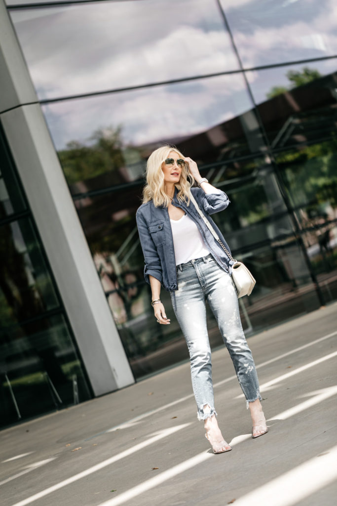 Dallas style blogger wearing 3x1 denim and a linen field jacket