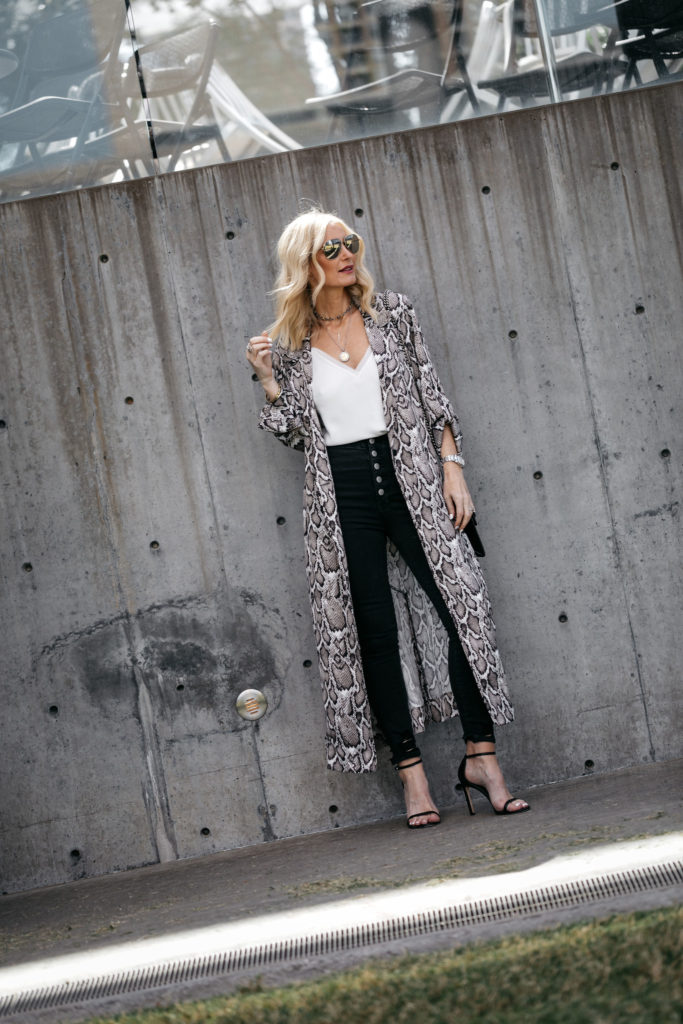 Snake print duster and J Brand jeans
