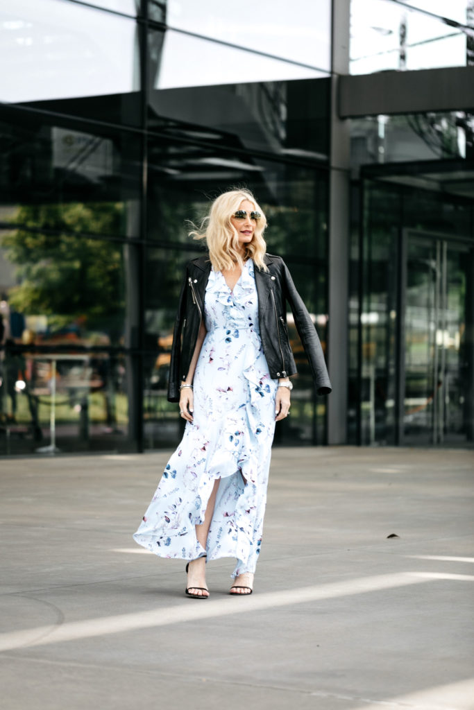 How to wear a floral maxi dress and leather jacket