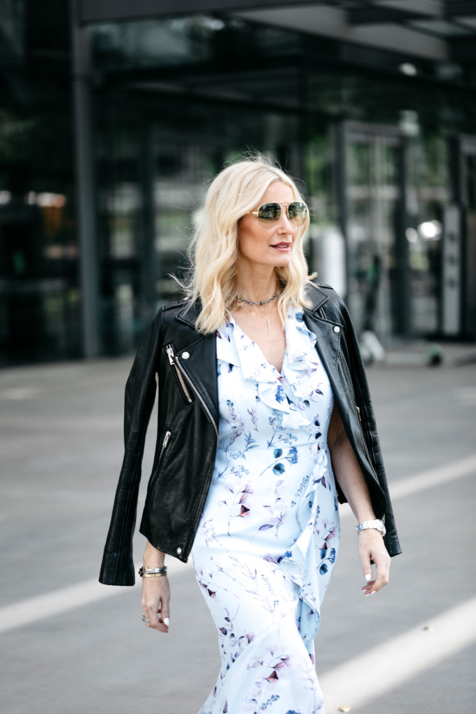Dallas style blogger wearing Iro leather jacket and Banana Republic dress