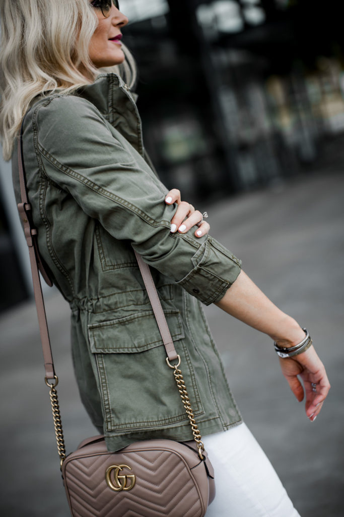 Dallas blogger wearing a Madewell army jacket and a Gucci handbag