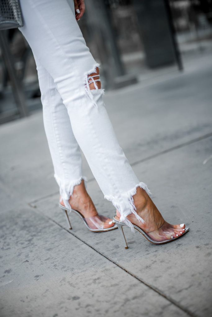 L'agence white jeans and silver Schutz heels