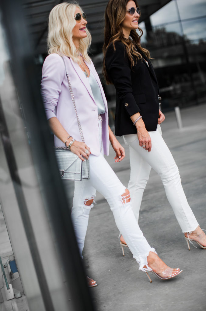 How to style a blazer and white jeans
