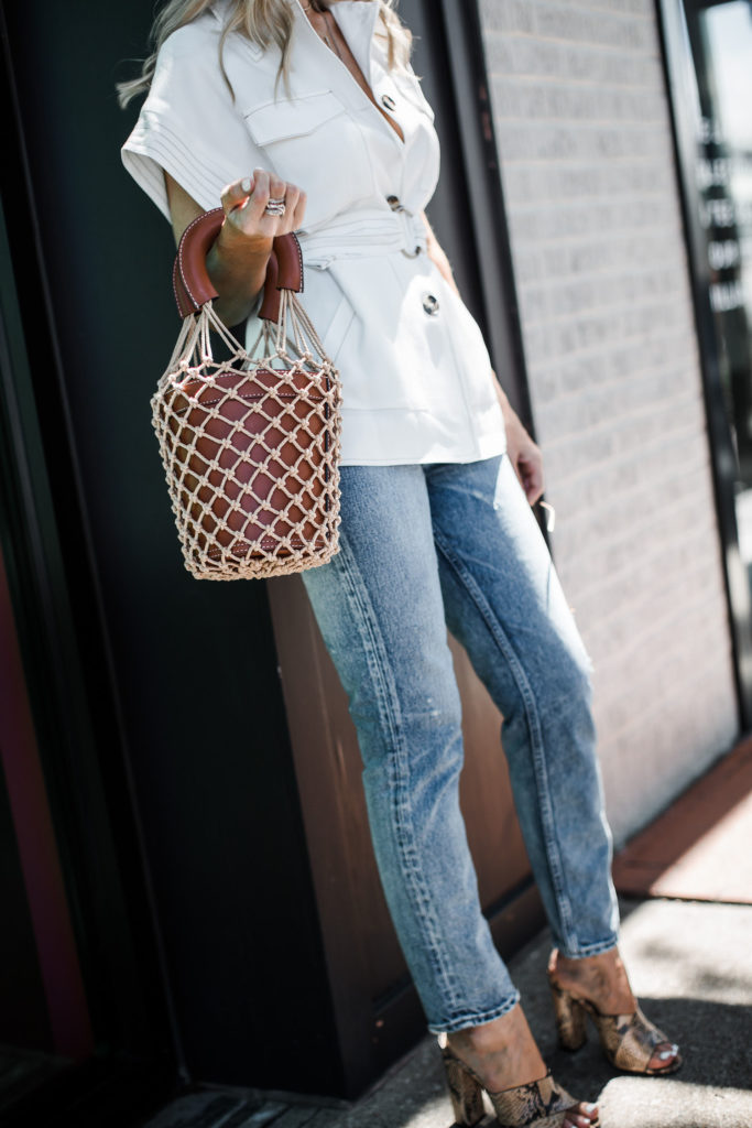 Dallas style blogger wearing Moussy jeans and Schutz heels