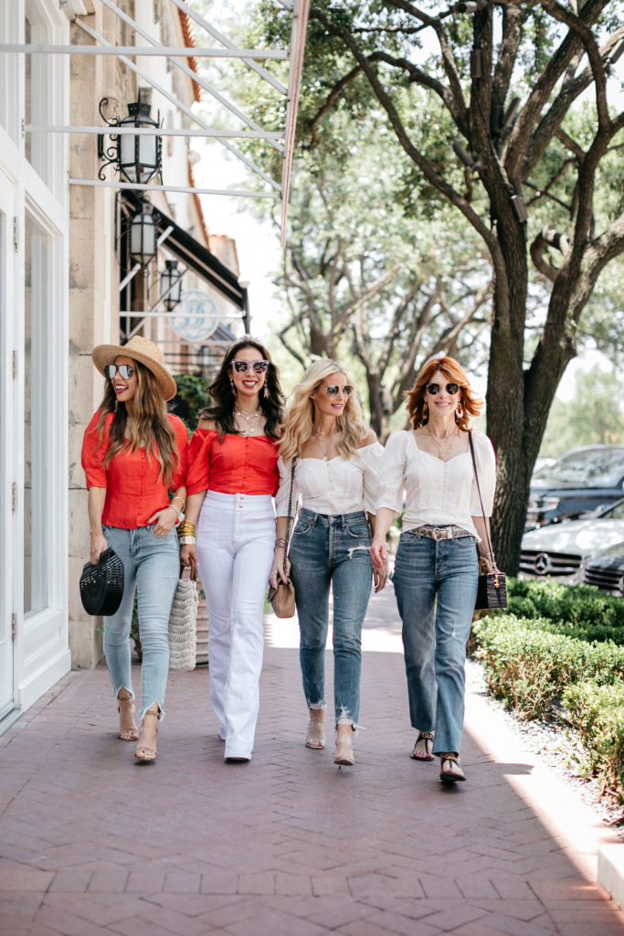 Dallas bloggers wearing jeans and an off the shoulder top