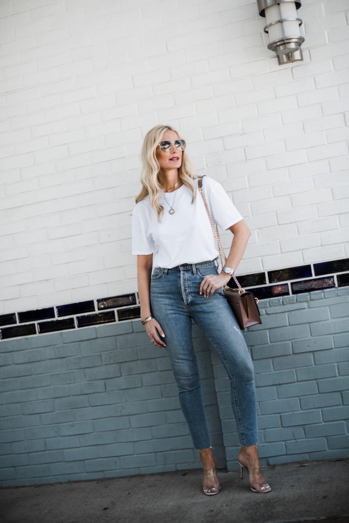 Dallas influencer wearing Citizens of Humanity jeans