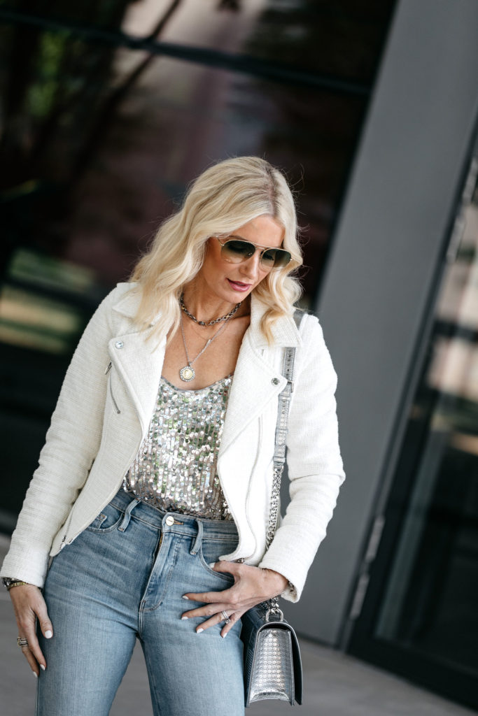 Dallas fashion blogger wearing a Blanknyc jacket and sequin tank top