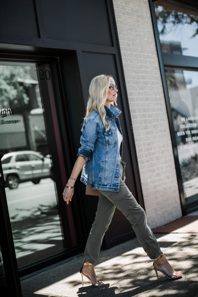 Dallas influencer wearing army pants and a jean jacket
