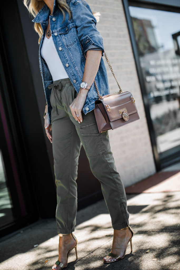 Dallas fashion blogger wearing a Madewell jean jacket and green army pants