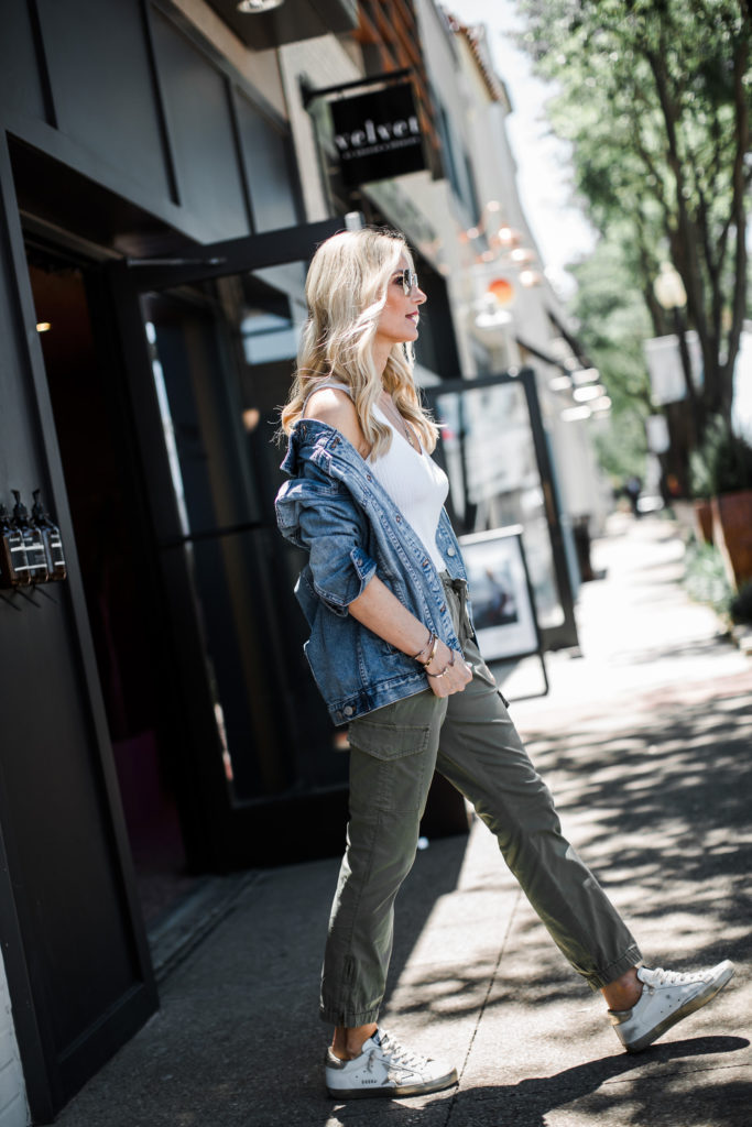 How to style a jean jacket and Golden Goose sneakers