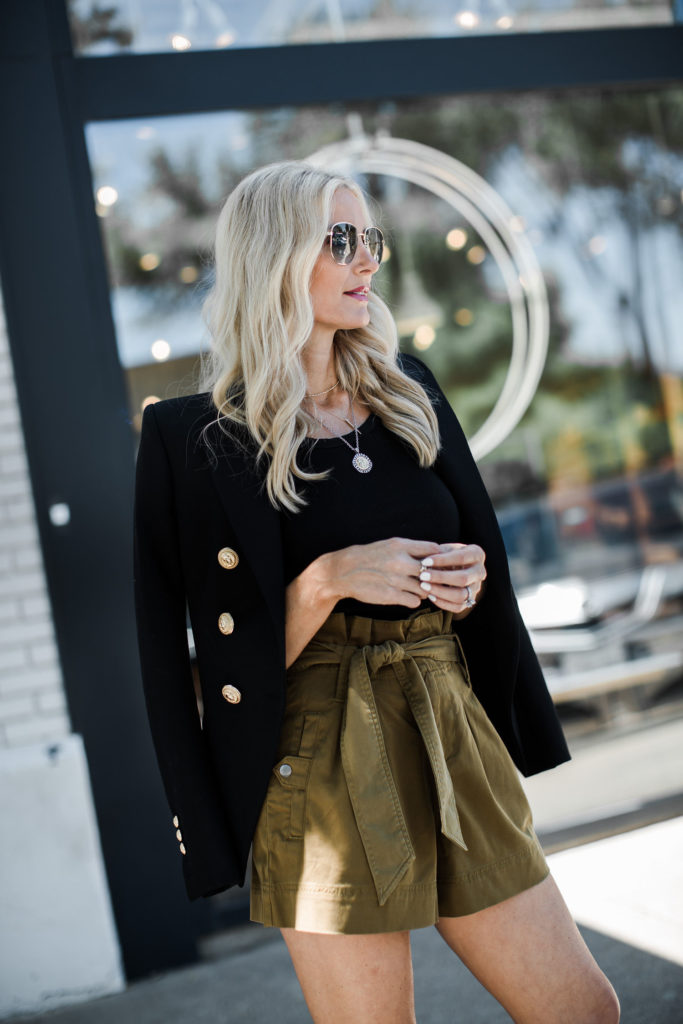 Dallas blogger wearing a Balmain Blazer