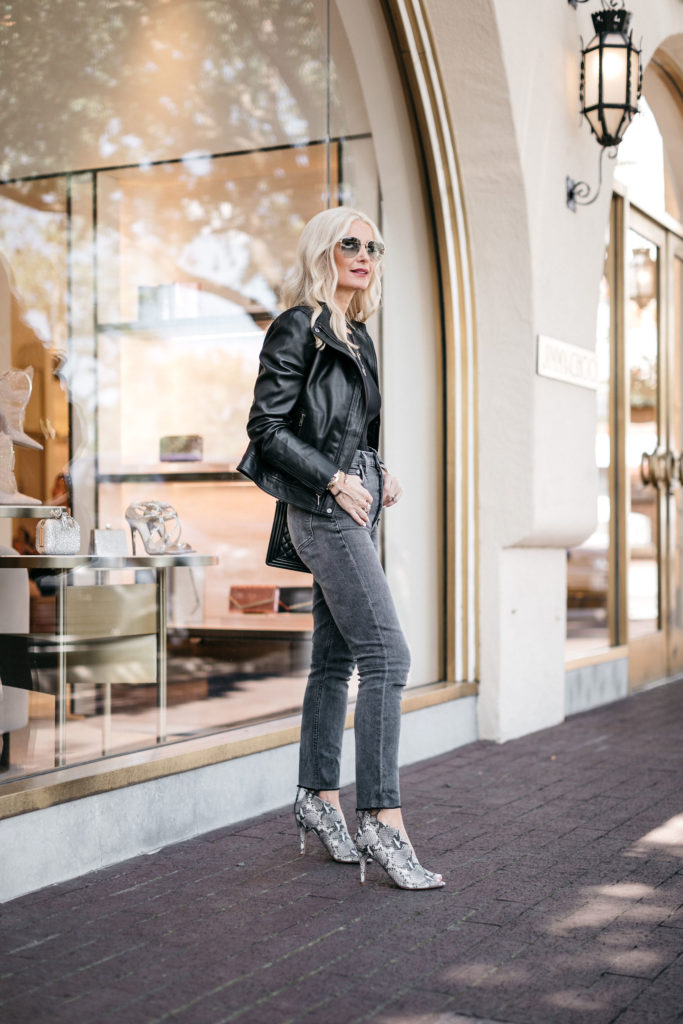 How to wear a black leather jacket over 40