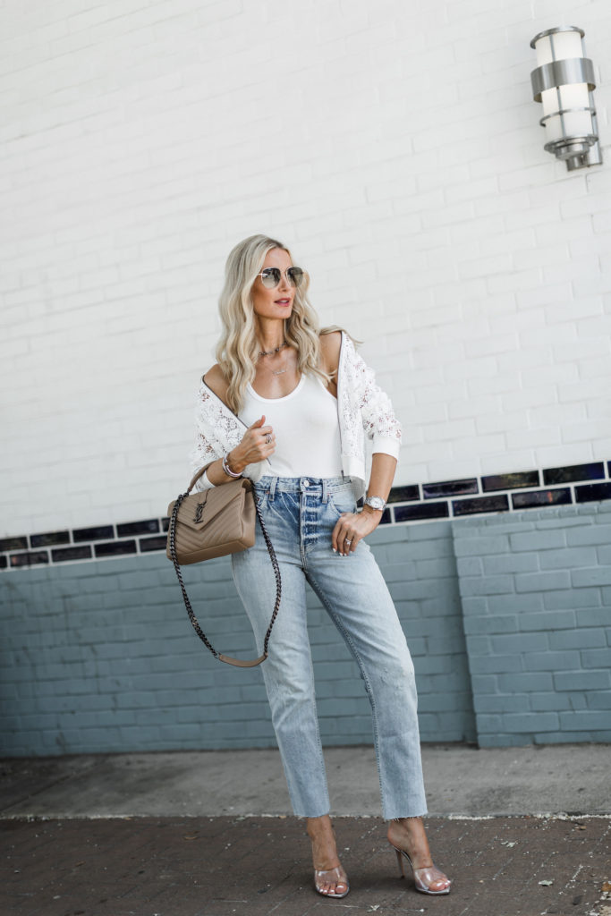 How to style a lace bomber jacket in the summer time