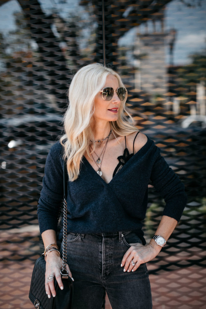 Dallas fashion blogger wearing a Madewell wrap sweater
