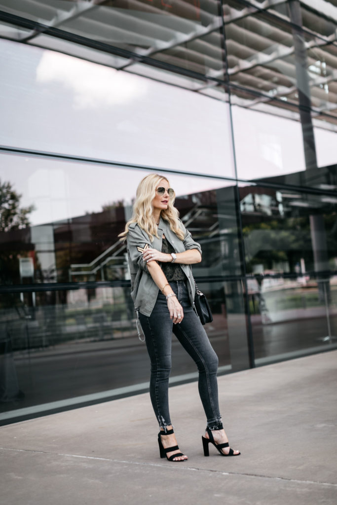 Dallas blogger wearing a Rails army jacket and black heels