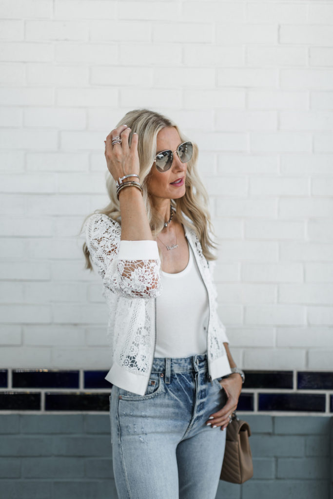 Dallas fashion blogger wearing Trave Denim and lace bomber jacket