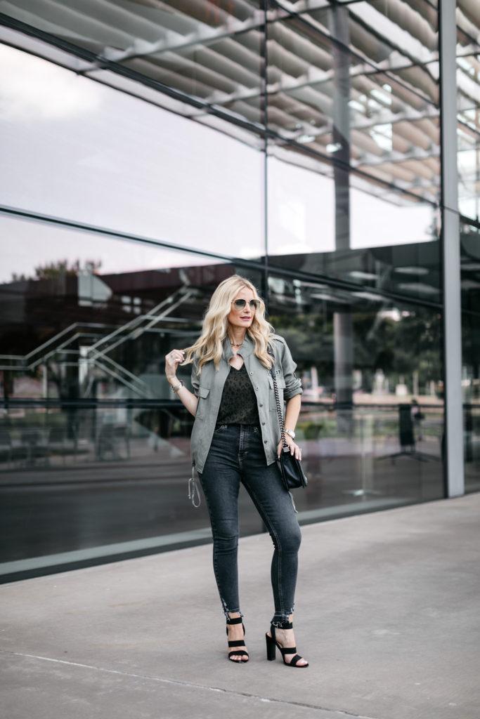 Dallas blogger wearing a Rails army jacket