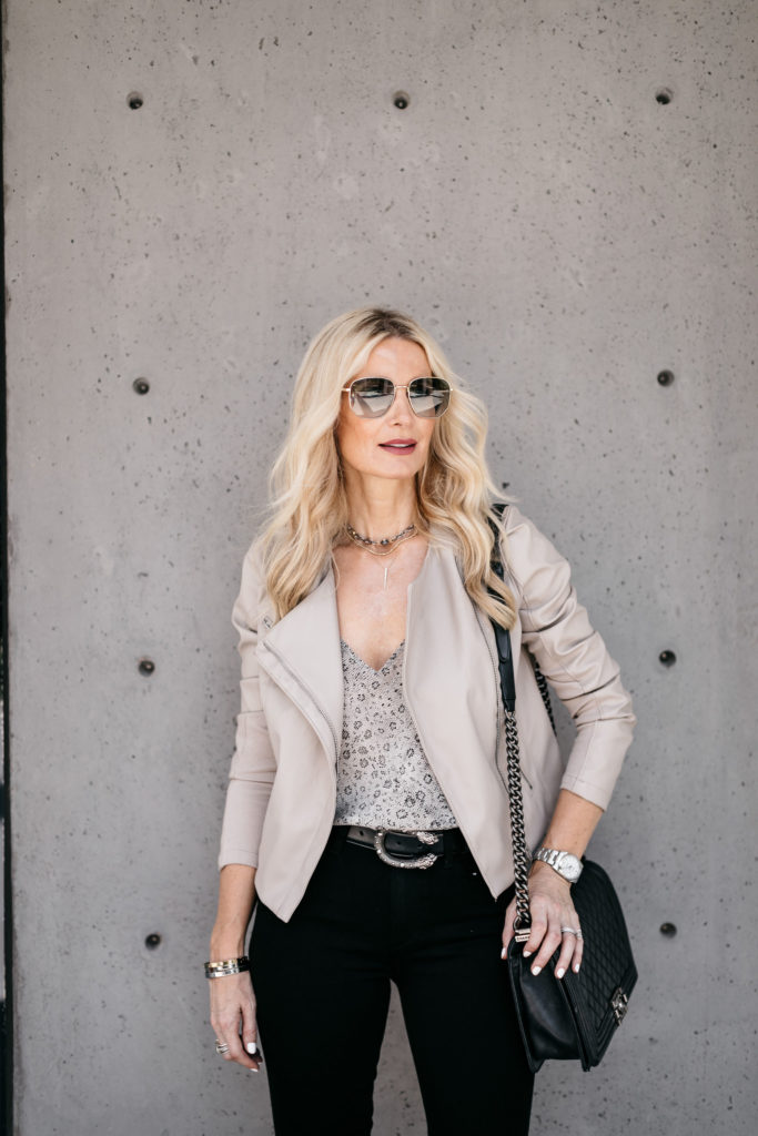 Dallas blogger wearing a faux leather jacket