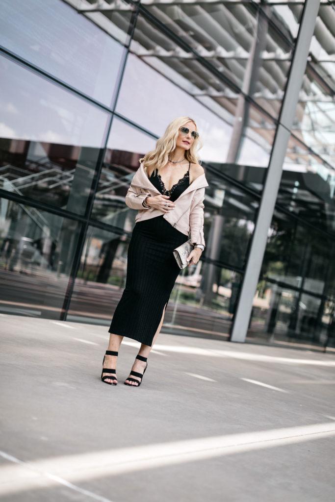Dallas fashion blogger wearing a Topshop moto jacket and black midi skirt
