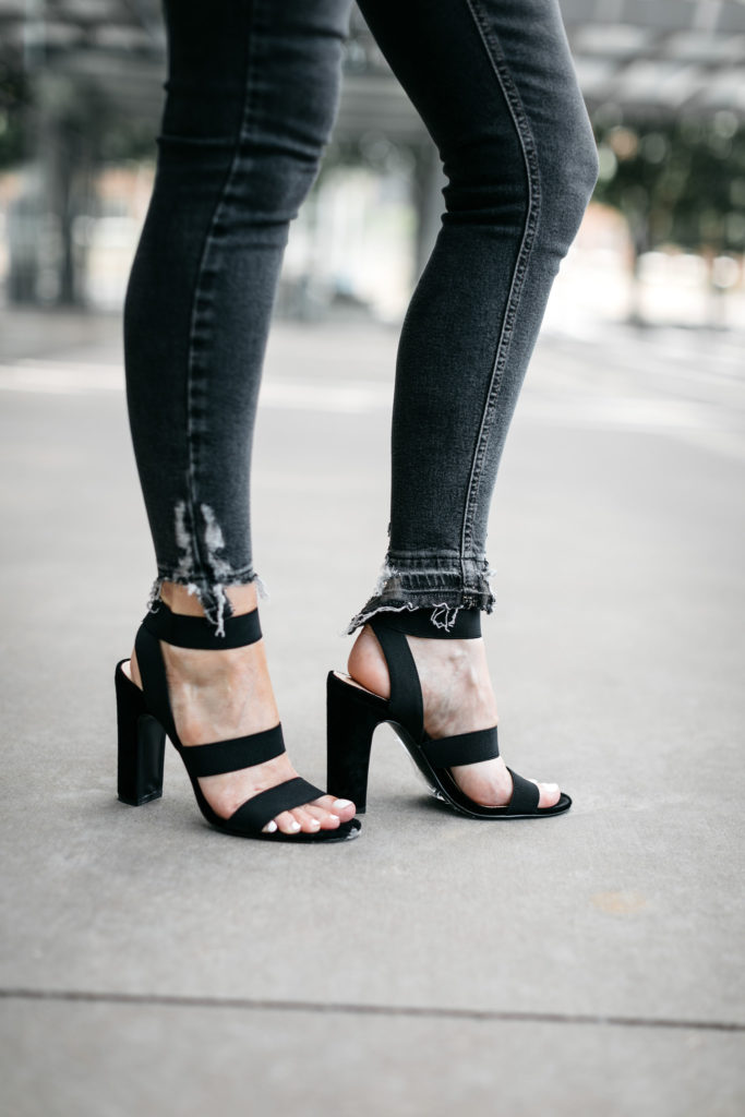 Topshop gray jeans and Steve Madden heels