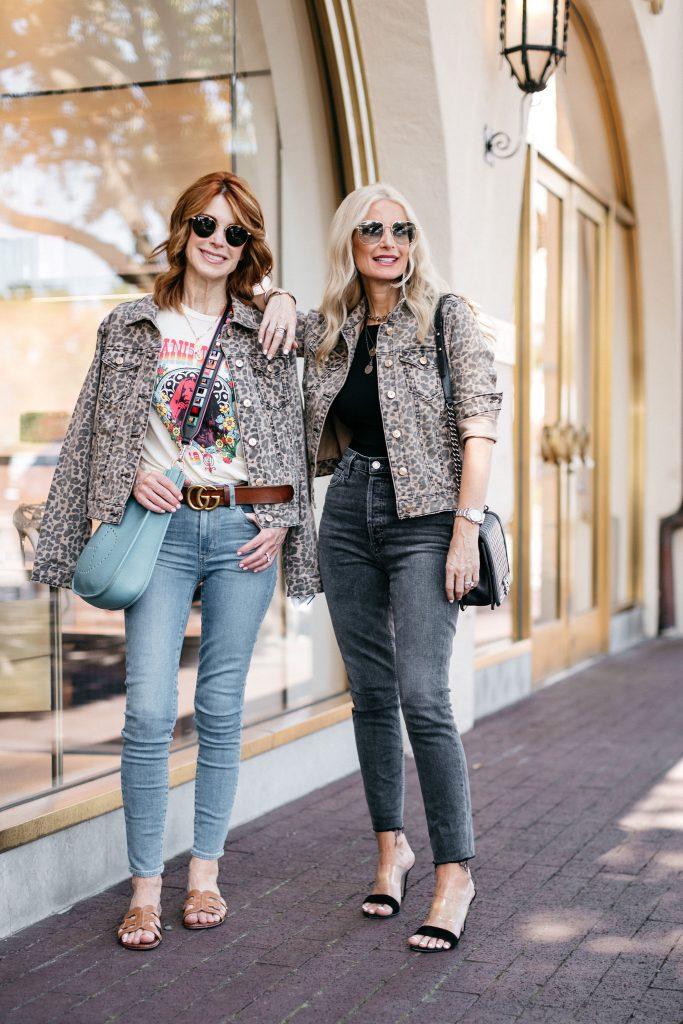 Dallas blogger wearing a leopard denim jacket