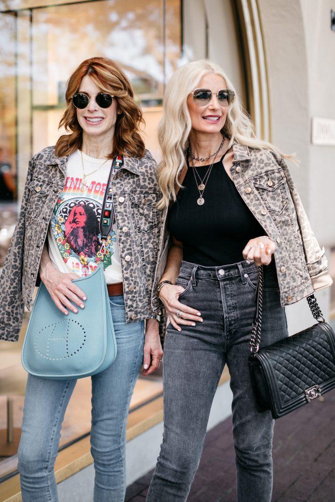 Dallas influencer wearing a leopard jean jacket
