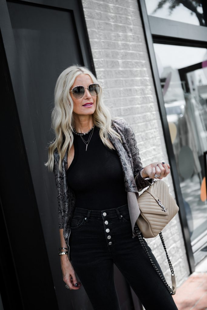 Dallas fashion blogger carrying a Saint Laurent handbag