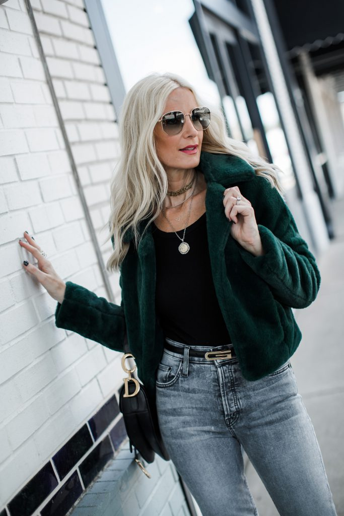 Dallas blogger wearing Gucci belt and faux fur jacket by Blanknyc