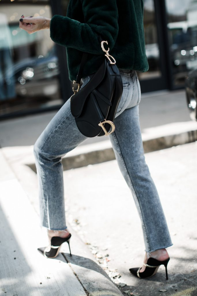 Dior saddle bag, Malone Soulier heels, and Mother gray jeans