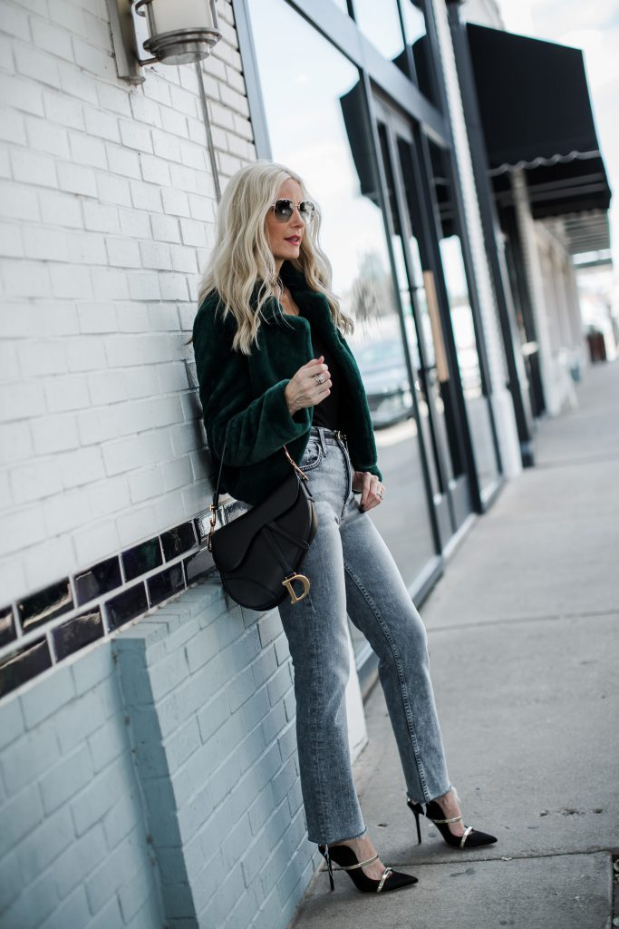 Dallas blogger wearing Mother jeans and Blanknyc faux fur jacket