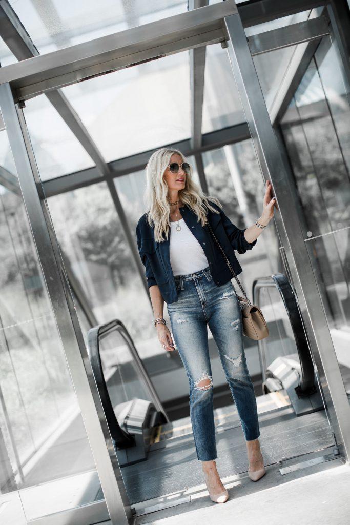 Dallas blogger wearing denim and heels