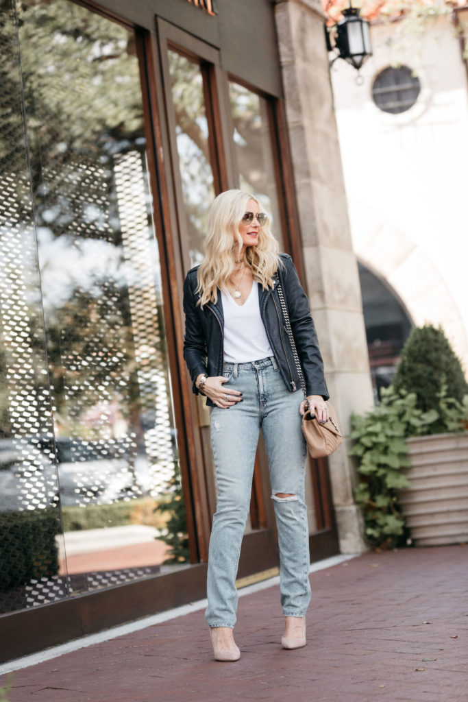Dallas fashion blogger wearing Hudson jeans and an Iro leather jacket