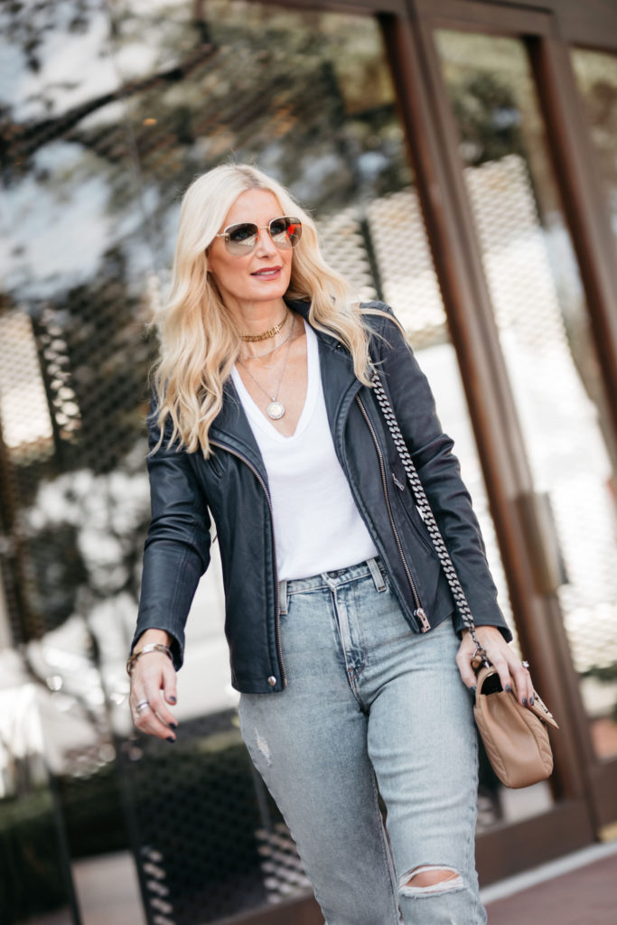 Dallas fashion blogger wearing an Iro leather jacket