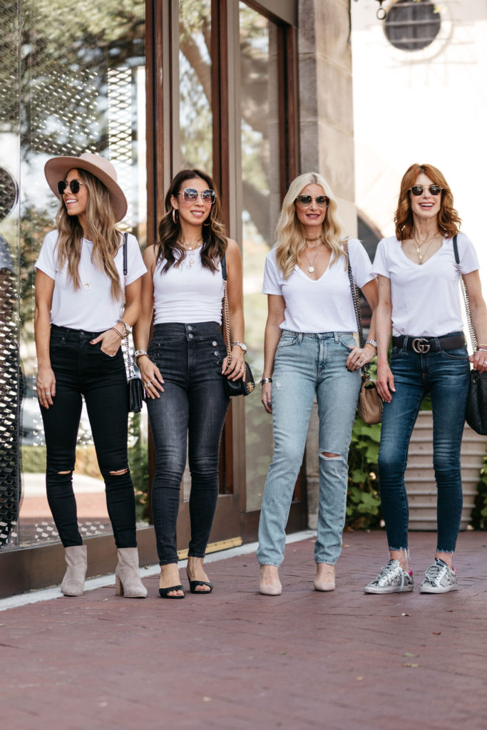 Dallas bloggers wearing white tees and jeans