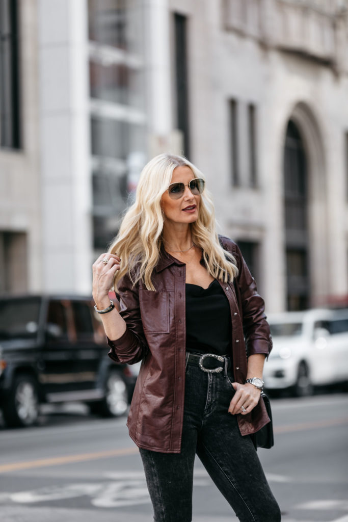 Dallas fashion blogger wearing a faux leather shirt jacket by Who What Wear